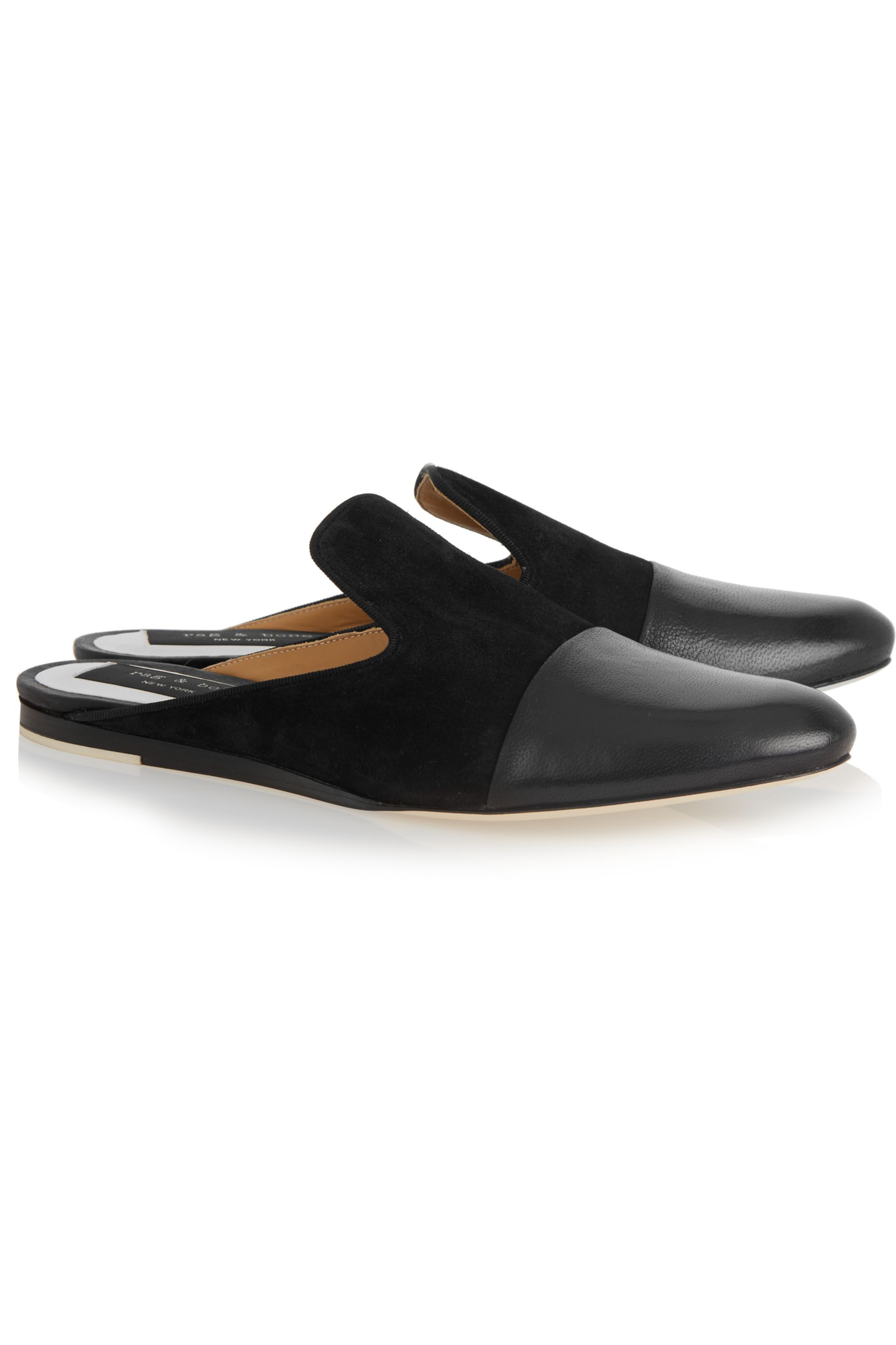 rag & bone Sabine suede and leather slippers
