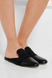 Sabine suede and leather slippers