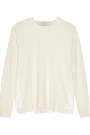 Lace-paneled wool and cashmere-blend sweater