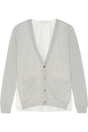 Lace-paneled wool and cashmere-blend cardigan