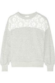 Lace-trimmed metallic cotton-blend jersey sweatshirt