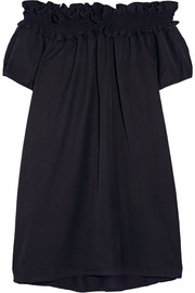 CLU Off-the-shoulder brushed silk and cotton-blend dress