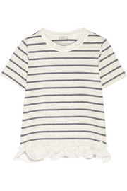 Satin-trimmed striped cotton-blend jersey T-shirt