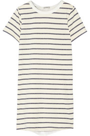 Washed silk-paneled striped cotton-blend mini dress