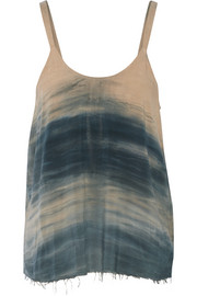 Tie-dyed brushed-crepe tank