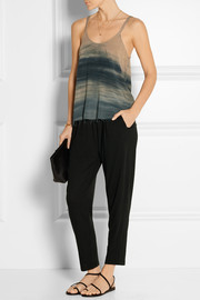 Raquel Allegra Tie-dyed brushed-crepe tank