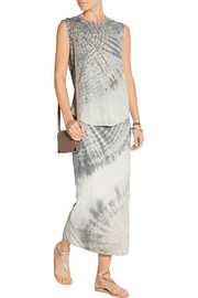 Raquel Allegra Tie-dyed cotton-blend jersey maxi skirt