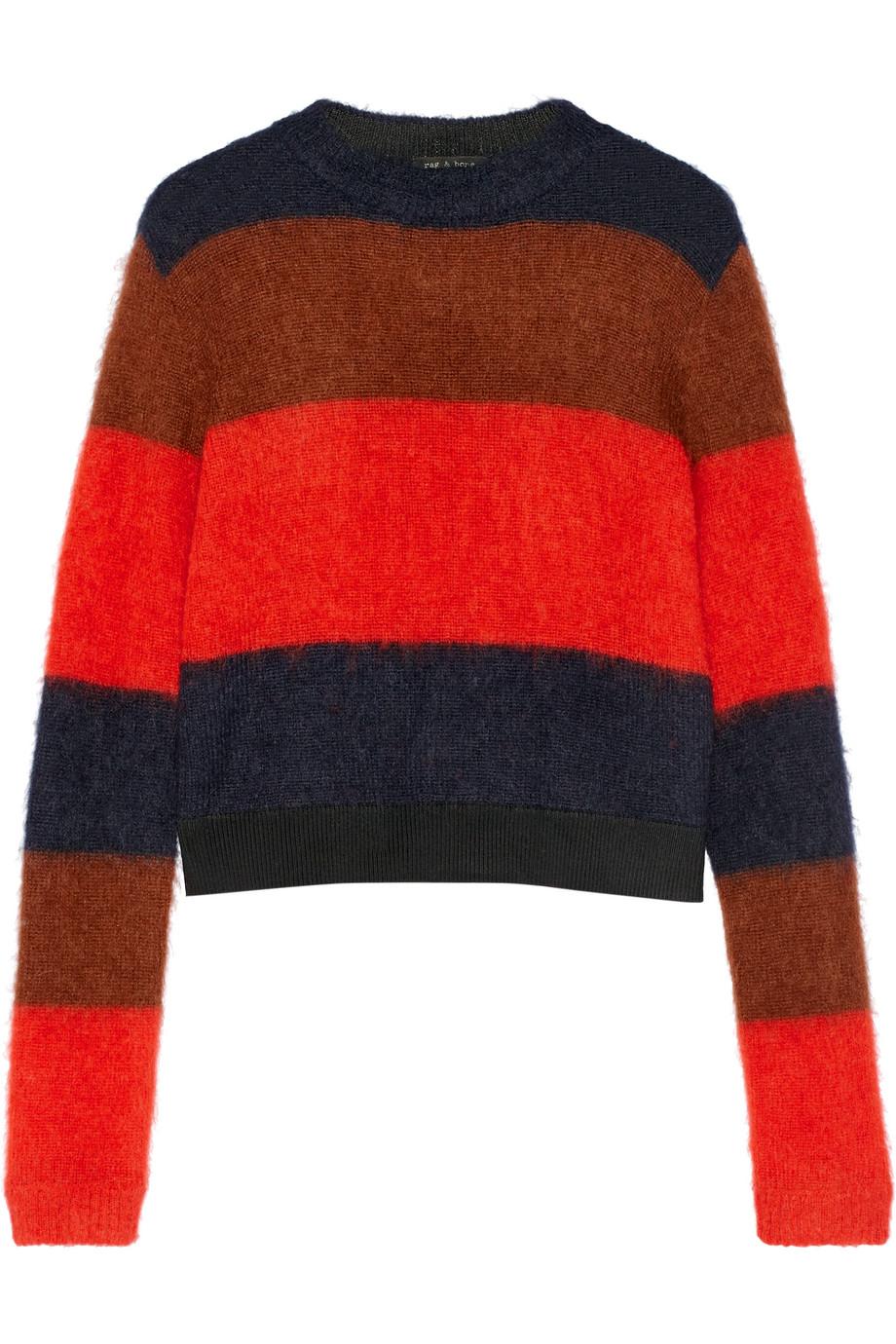 Rag & Bone Petra Striped Knitted Sweater, Crimson, Women's