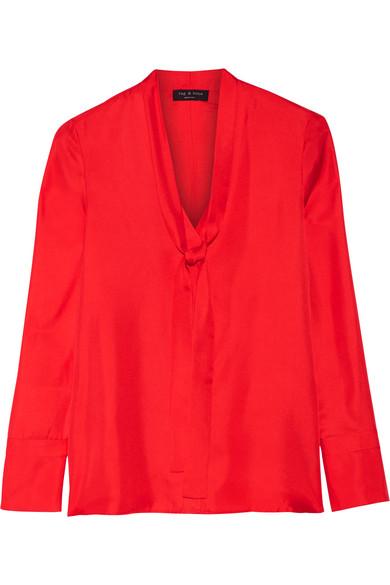 Rag & bone - Florence Pussy-bow Silk-satin Twill Shirt - Red