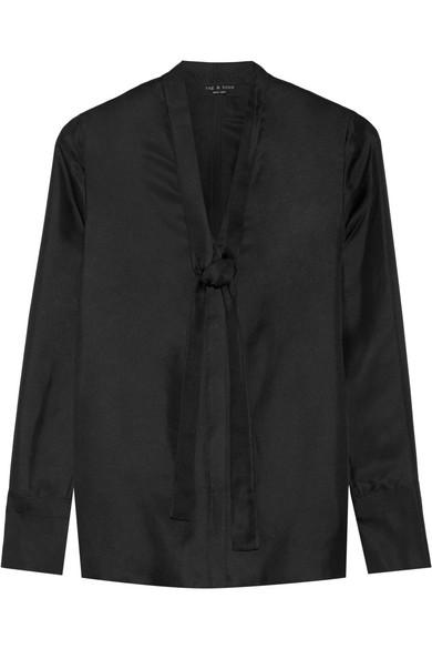 Rag & bone - Florence Pussy-bow Silk-satin Twill Shirt - Black