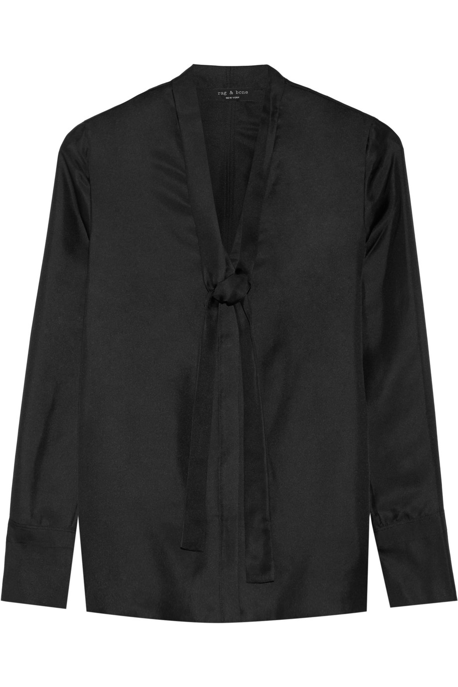 Rag & Bone Florence Pussy-Bow Silk-Satin Twill Shirt, Black, Women's, Size: 0