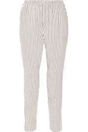 Striped silk-satin track pants