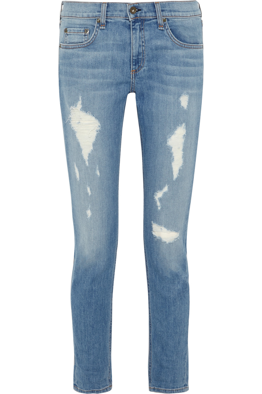 Rag & Bone The Dre Distressed Mid-Rise Slim Boyfriend Jeans, Light Denim, Women's, Size: 29