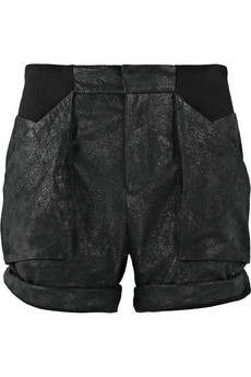 Helmut Lang Cracked-leather paneled shorts