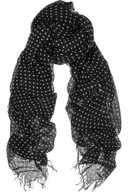 Chan Luu Polka-dot cashmere and silk-blend scarf