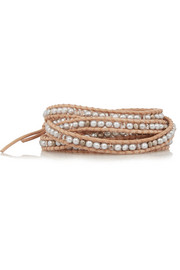Pearl, Swarovski crystal and suede wrap bracelet
