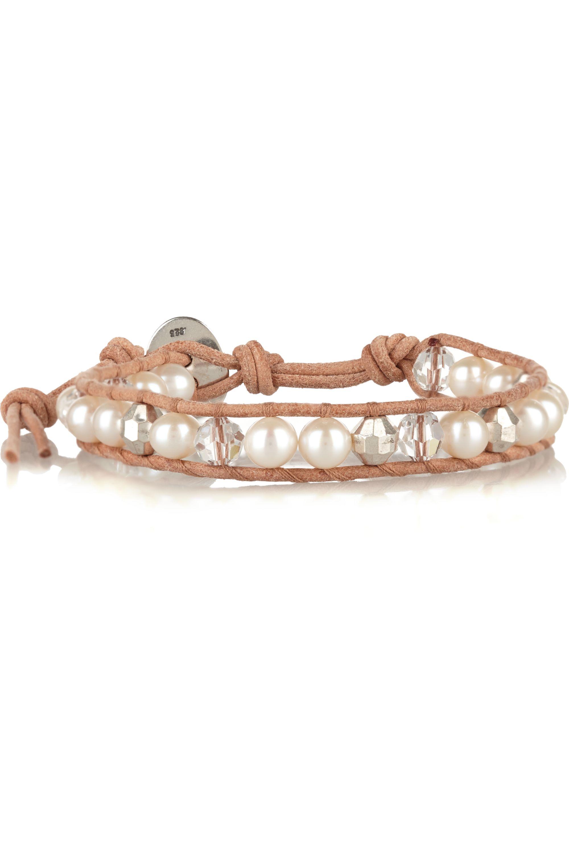 Chan Luu Armband aus Veloursleder mit Perlen und Swarovski-Kristallen