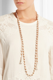 Tasseled suede and pearl necklace