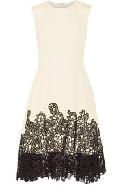 Lace-paneled cotton-blend dress