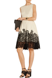 Lela Rose Lace-paneled cotton-blend dress