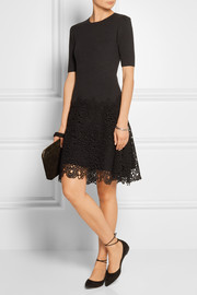 Lela Rose Matelassé stretch-cotton and lace dress