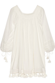 Tewa tasseled cotton-gauze mini dress