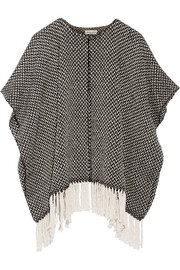 Fringed cotton cape