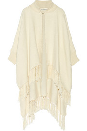 Fringed woven cotton poncho