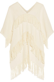 Fringed cotton poncho