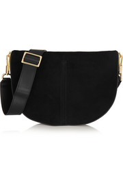 Elizabeth and James Scott Moon small leather-trimmed suede shoulder bag