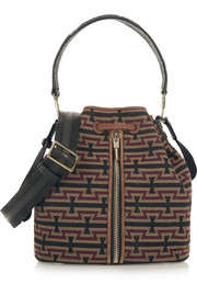 Cynnie leather and suede-trimmed jacquard bucket bag