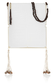 Elizabeth and James Tassel-trimmed croc-effect leather and suede shoulder bag