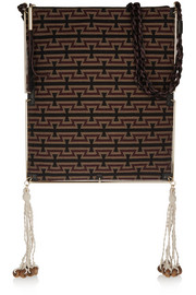 Tassel-trimmed croc-effect leather and jacquard shoulder bag