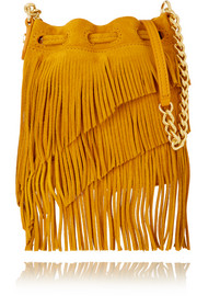 Fringed suede bucket bag