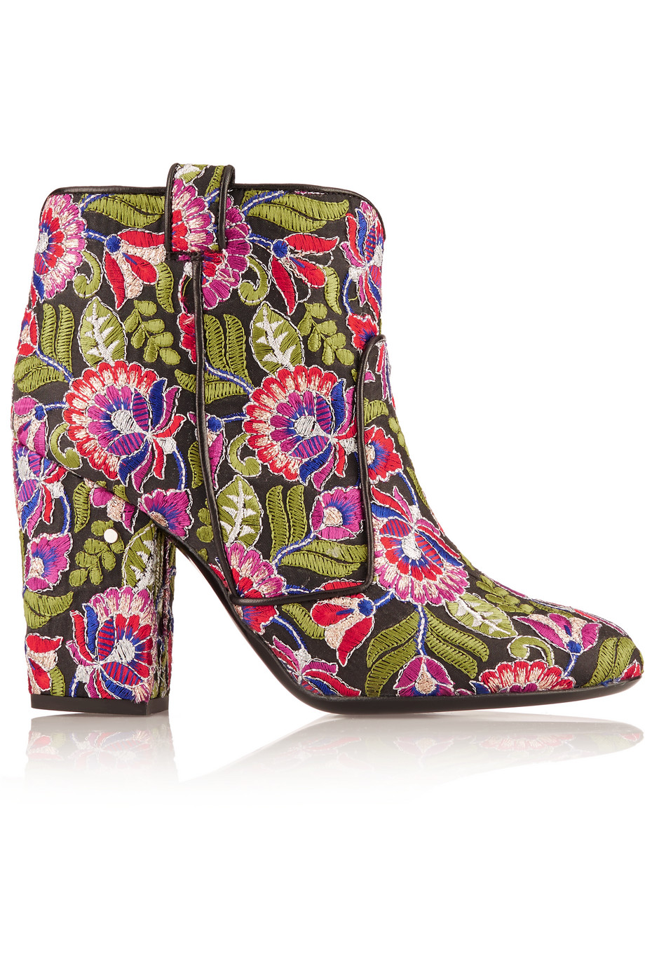 Laurence Dacade Pete Embroidered Canvas Ankle Boots, Pink/Green, Women's US Size: 7, Size: 37.5