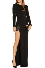 Haney Asymmetric embroidered stretch-crepe gown