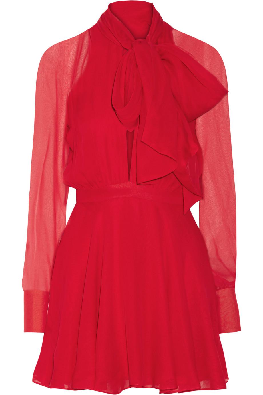 Haney Sybil Pussy-Bow Silk-Chiffon Mini Dress, Crimson, Women's, Size: 4