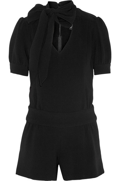 Haney - Lizzie Pussy-bow Crepe Playsuit - Black