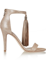 Jimmy Choo Viola crystal-embellished tasseled suede sandals