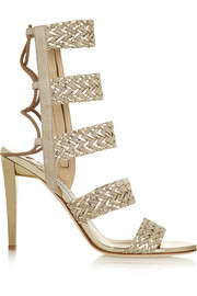 Jimmy Choo Lima braided suede and metallic leather sandals