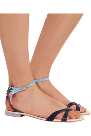 Sophia Webster Malibu Sunset vinyl-trimmed leather and satin sandals