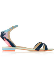 Malibu Sunset vinyl-trimmed leather and satin sandals