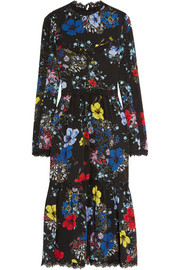 Georgie lace-trimmed printed silk crepe de chine midi dress