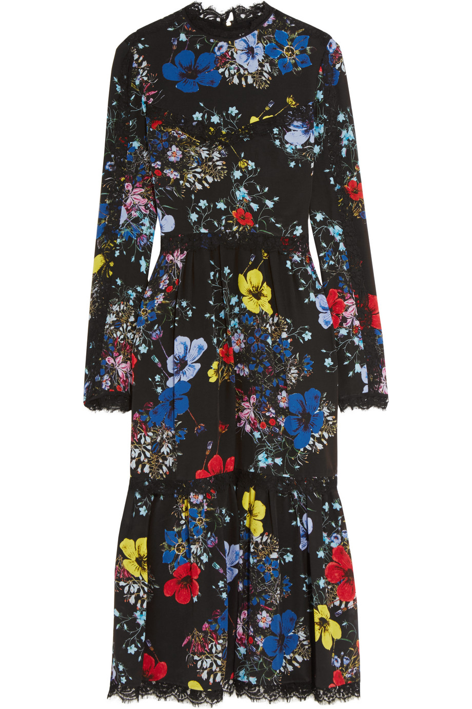 Erdem Georgie Lace-Trimmed Printed Silk Crepe De Chine Midi Dress, Black/Blue, Women's, Size: 8