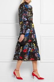 Erdem Georgie lace-trimmed printed silk crepe de chine midi dress