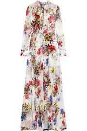 Denise floral-print silk-chiffon gown