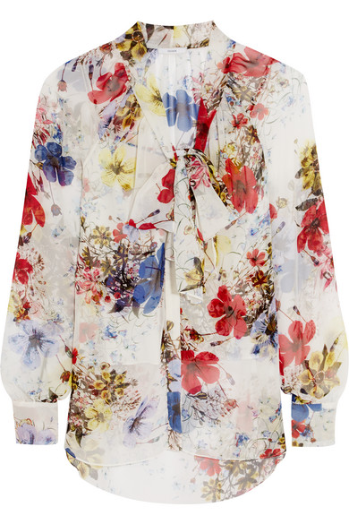 Erdem - Rosabel Pussy-bow Printed Silk-chiffon Blouse - White