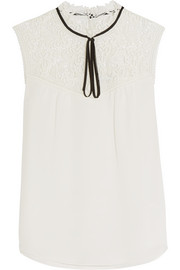 Erdem Julisa guipure lace-paneled silk-cady top