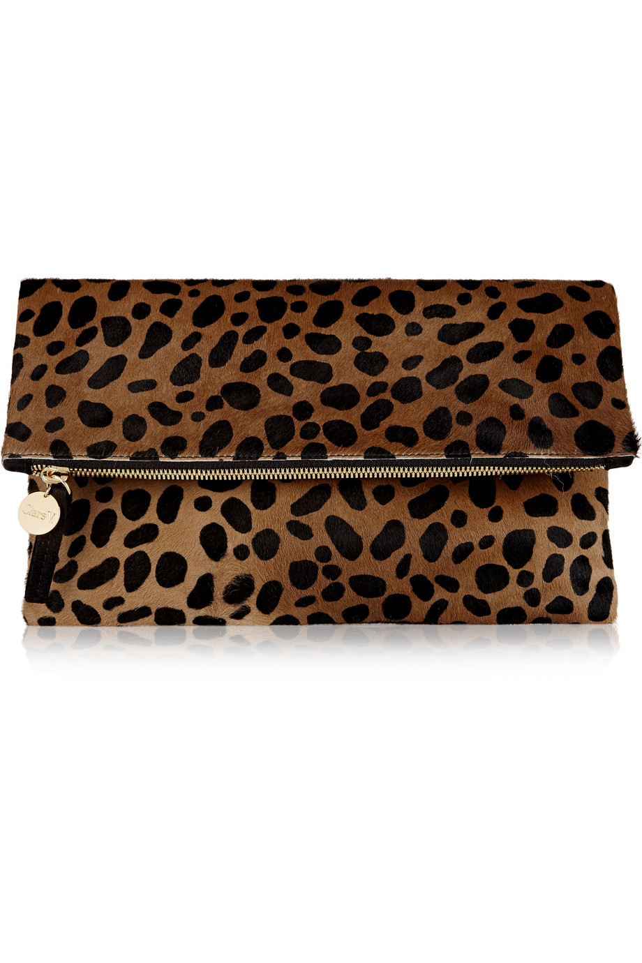 Clare V Fold-Over Leopard-Print Calf Hair Clutch, Leopard Print, Women's, Size: One Size