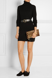 Fold-over leopard-print calf hair clutch